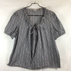 Gap Printed Gathered Tie Front Short Sleeve Top
